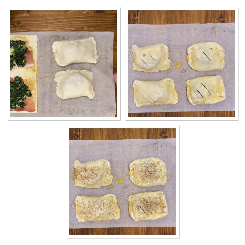 Uova sode in pasta sfoglia con spinaci speck e formaggio