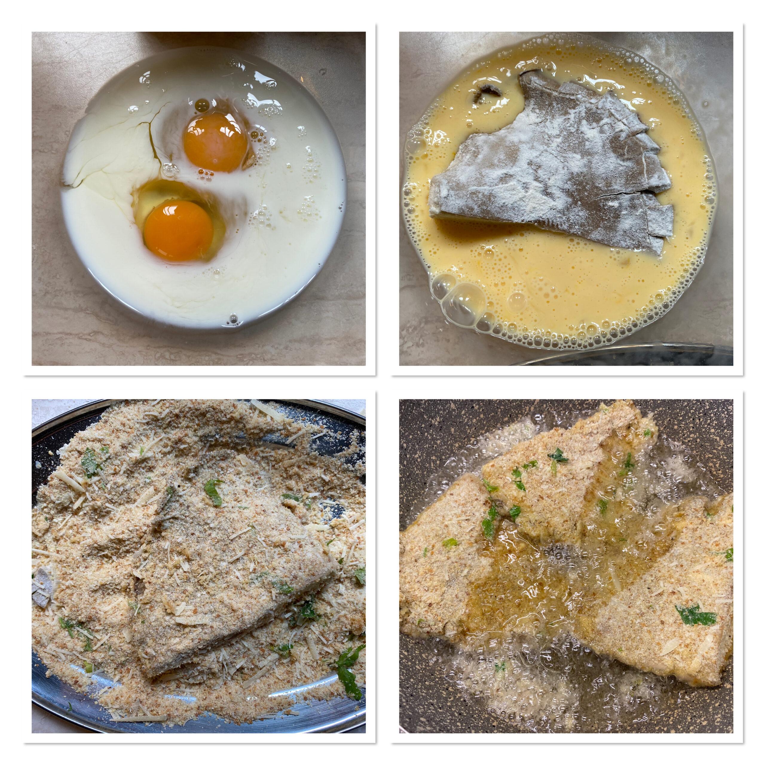 Cotolette di funghi pleurotus impanate e fritte
