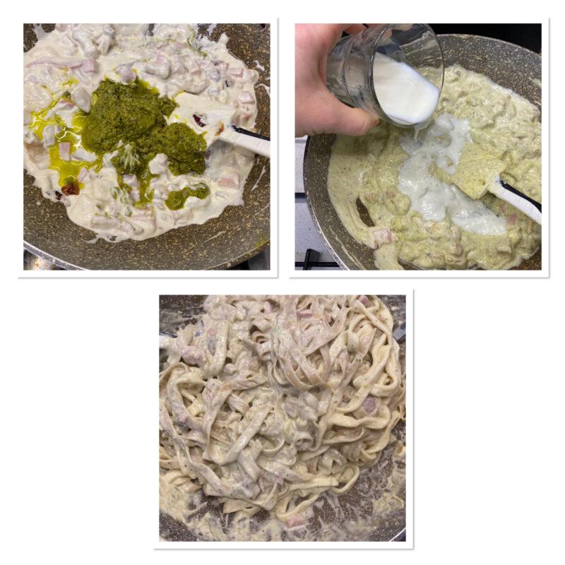 Pasta al pesto di pistacchi pancetta e panna con prosciutto