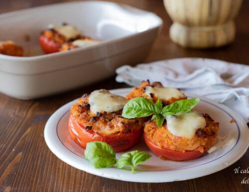 Pomodori al forno con pangrattato e mozzarella