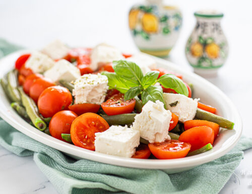 Insalata di fagiolini pomodorini e feta
