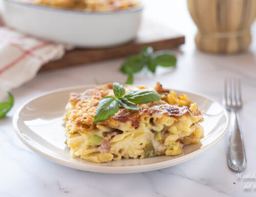 Gnocchetti sardi gratinati con zucchine pancetta e formaggio