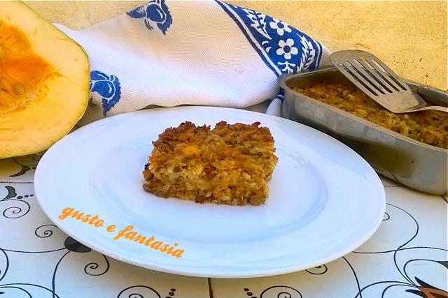 sformato di riso con lenticchie e zucca.