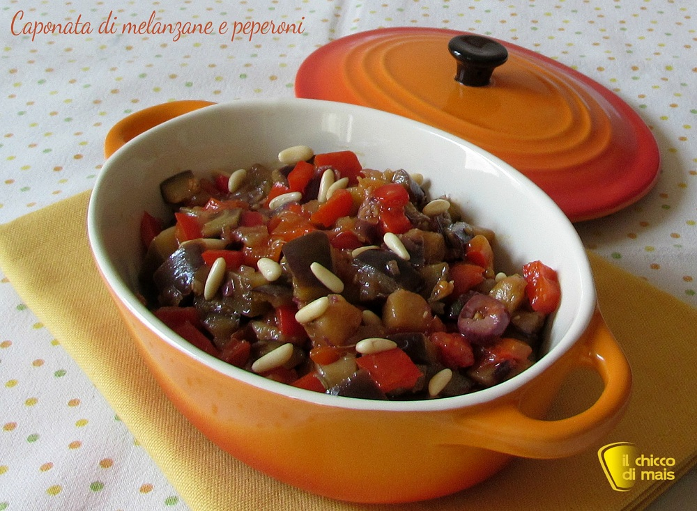 ricette con melanzane Caponata di melanzane e peperoni ricetta veloce il chicco di mais