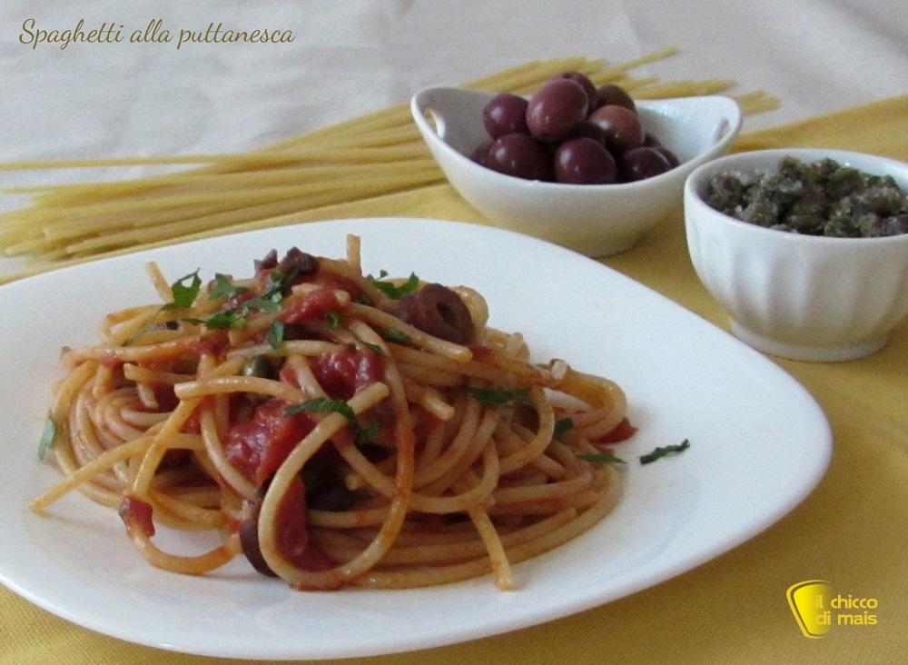 menu di ferragosto 2015 Spaghetti alla puttanesca ricetta campna il chicco di mais