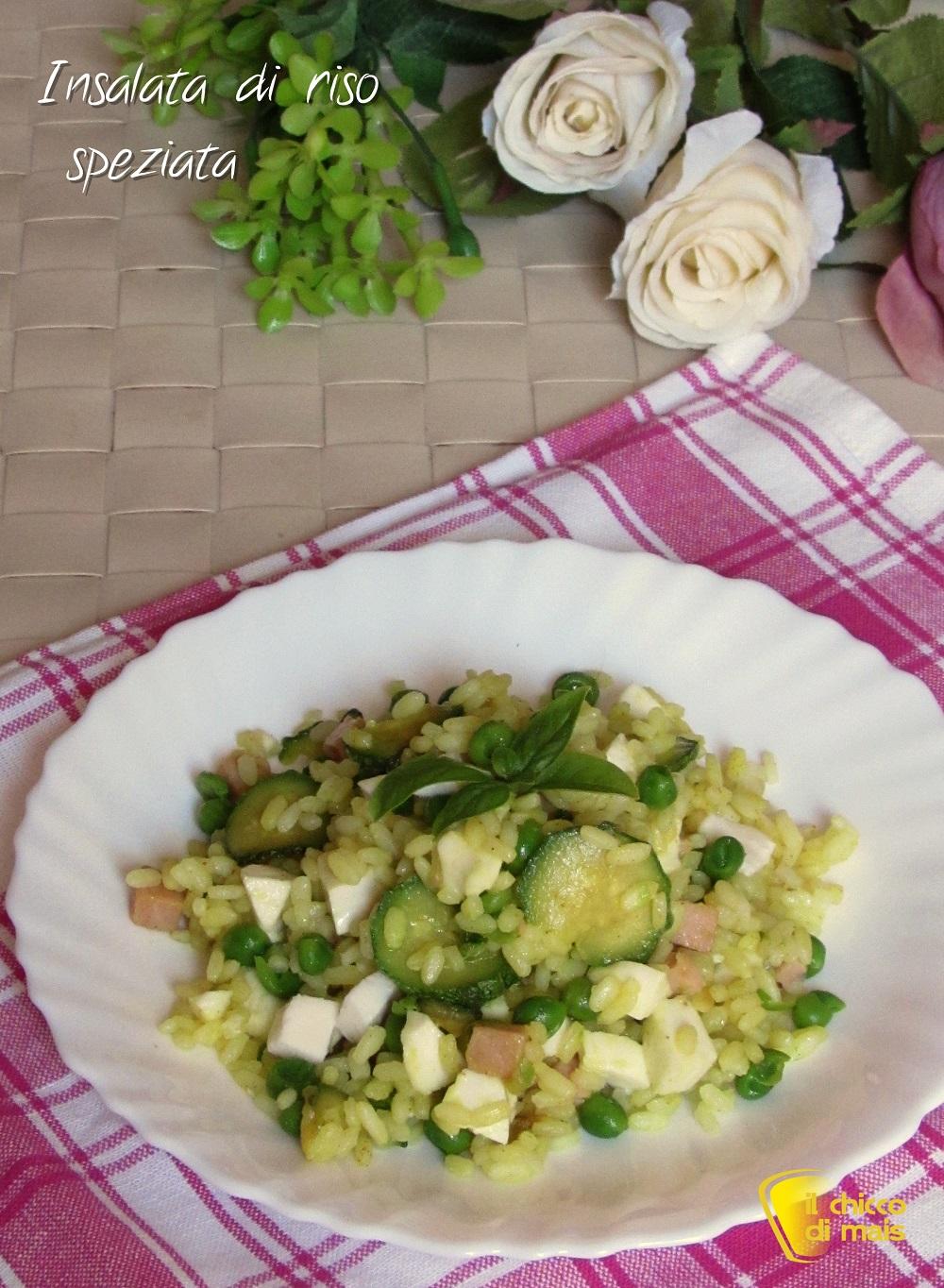 verticale_Insalata di riso speziata ricetta piatto freddo il chicco di mais