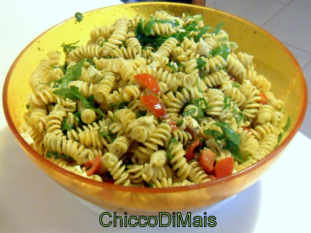 pasta fredda con pesto pomodorini e rucola ricetta estiva il chicco di mais