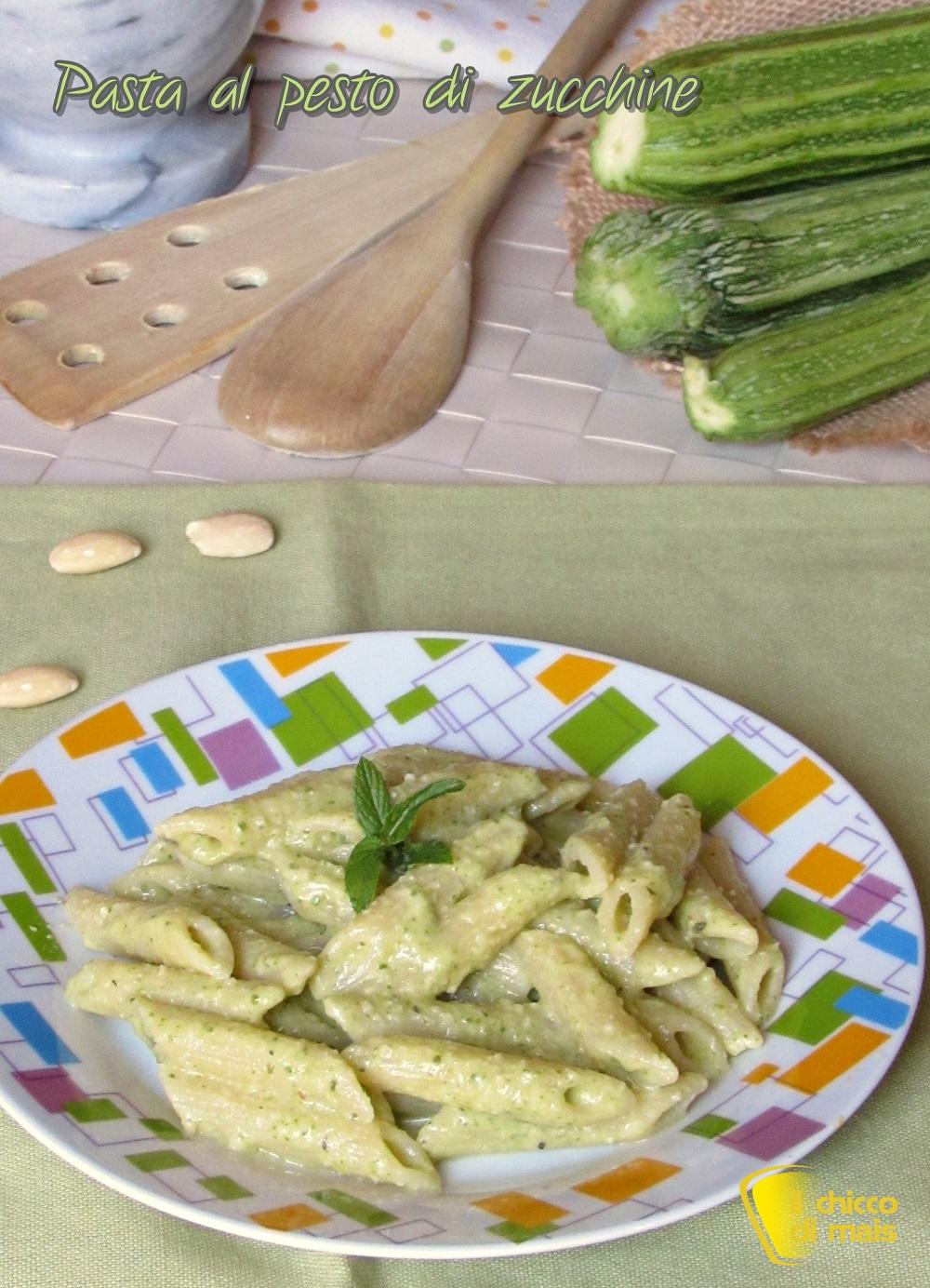 verticale_Pasta al pesto di zucchine ricetta light con zucchine cotte il chicco di mais