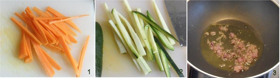 Spaghetti di riso con gamberi e verdure 1 tagliare le verdure
