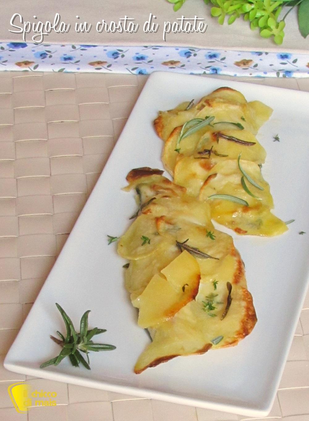 verticale_spigola in crosta di patate ricetta facile pesce coperto con chips di patate il chicco di mais