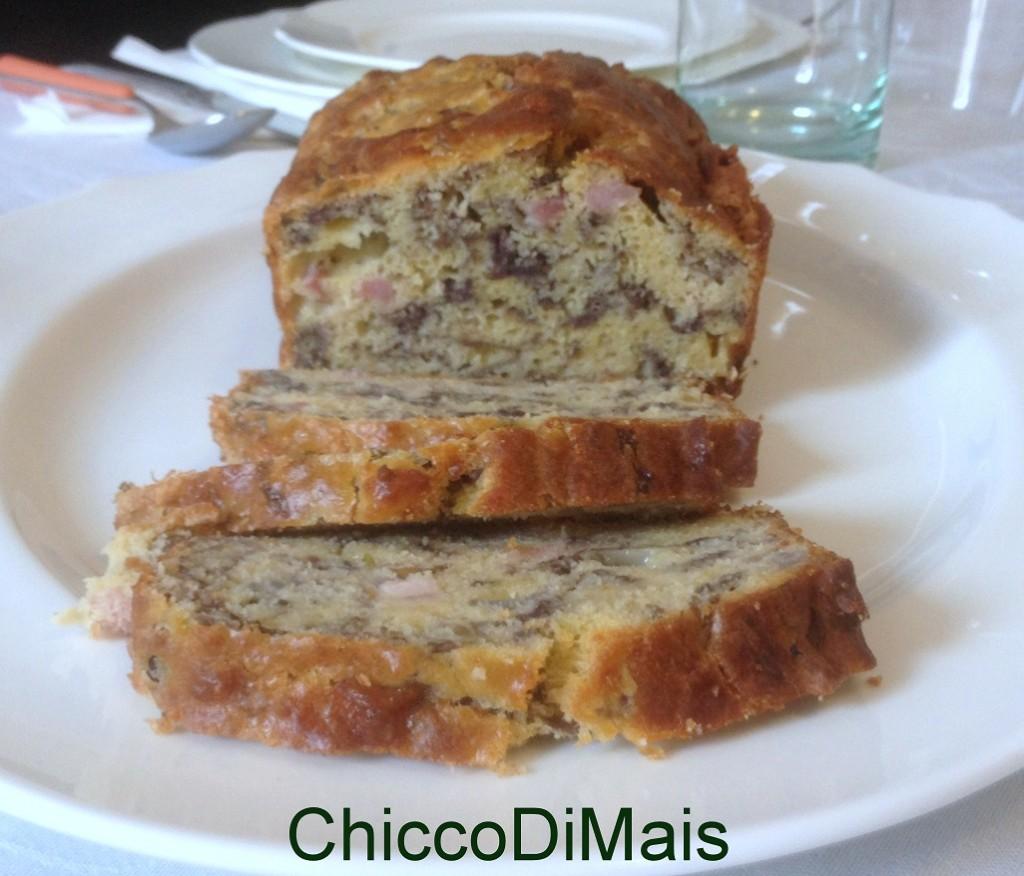Antipasto del pranzo del 25 Plum cake con pancetta e radicchio ricetta menu di natale il chicco di mais