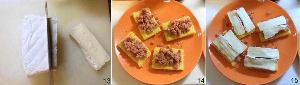 Crostini di polenta con salsiccia e brie ricetta antipasto il chicco di mais 5