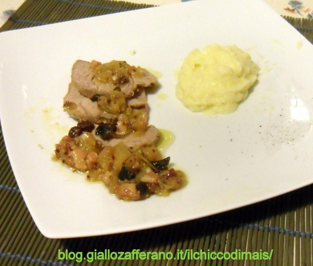 Secondo piatto del pranzo del 25 Arrosto di maiale alle mele ricetta menu di Natale il chicco di mais