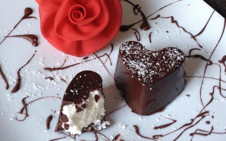 Cuori di cioccolato e cocco