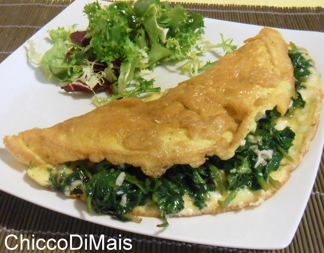 antipasti e secondi con le uova Omelette agli spinaci ricetta secondo piatto il chicco di mais