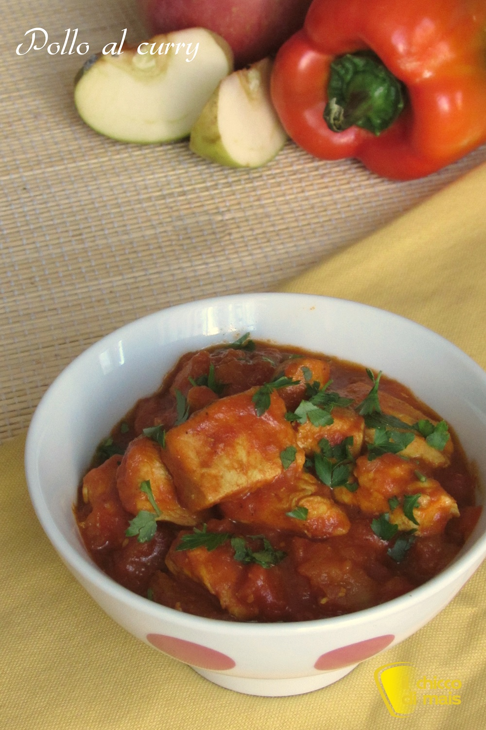 verticale_Pollo al curry ricetta etnica con mela il chicco di mais