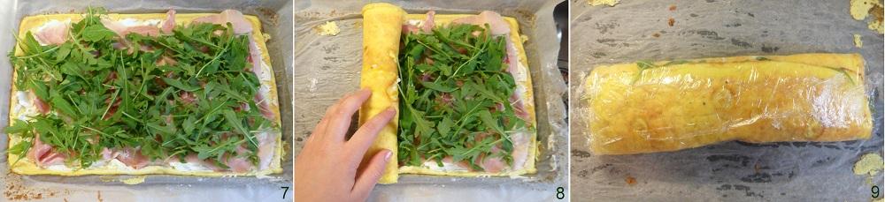 Rotolo di frittata con prosciutto robiola e rucola ricetta piatto freddo il chicco di mais 3