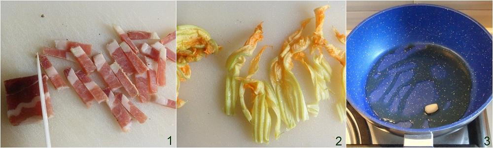 Pasta con gamberi bacon e fiori di zucca ricetta saporita il chicco di mais 1
