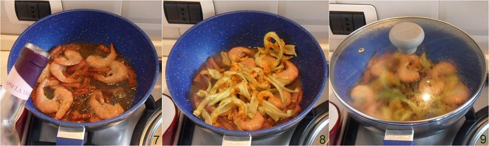 Pasta con gamberi bacon e fiori di zucca ricetta saporita il chicco di mais 3