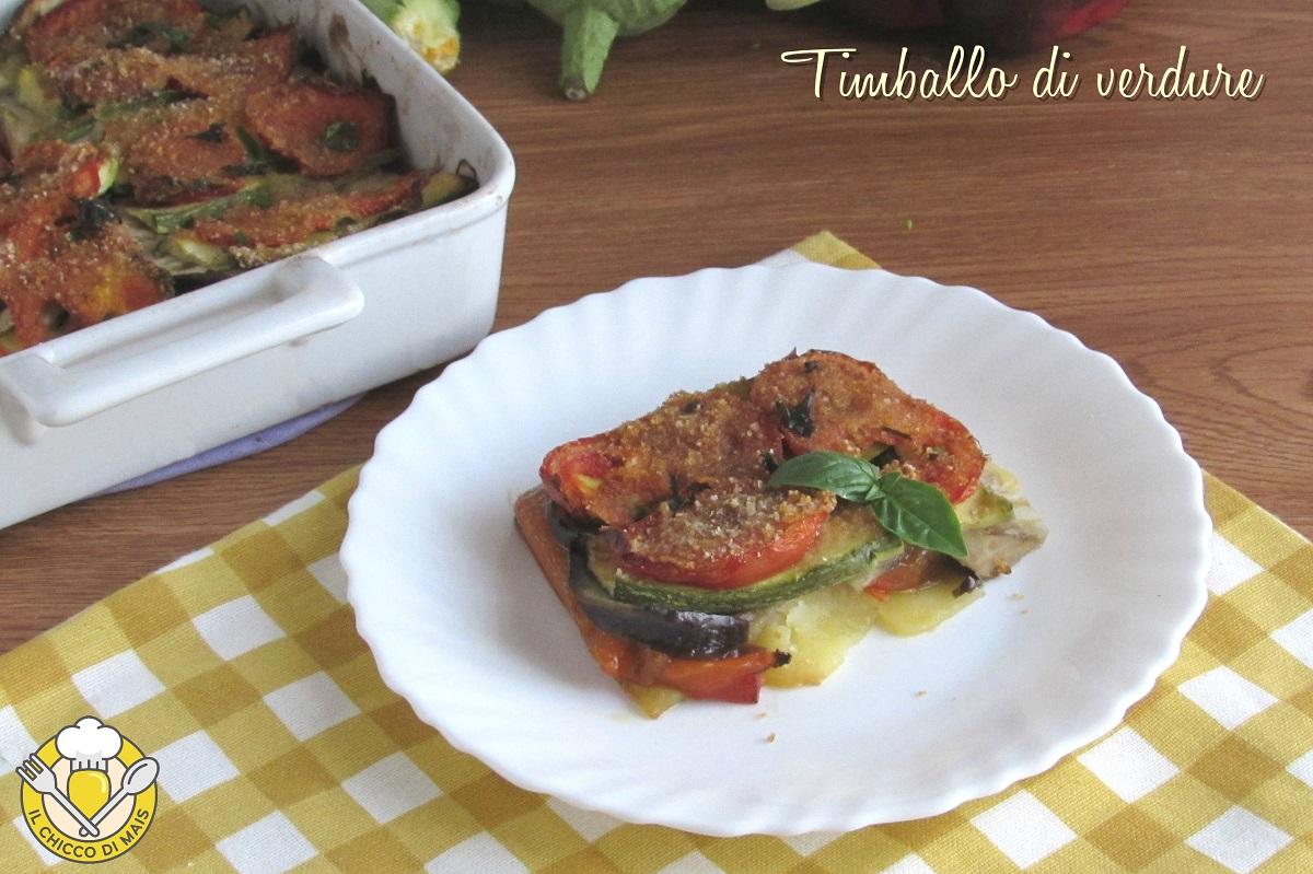 timballo di verdure tutto a crudo ricetta vegana sformato di patate peperoni melanzane zucchine pomodori il chicco di mais