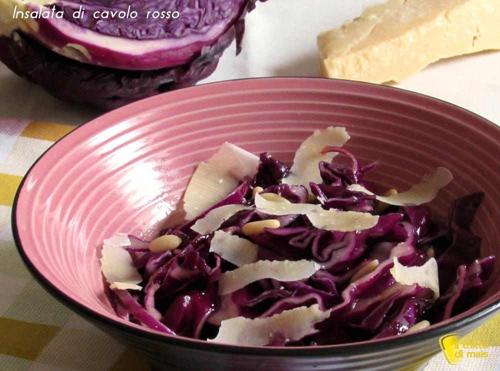 Insalata di cavolo rosso, parmigiano e pinoli ricetta antipasto il chicco di mais