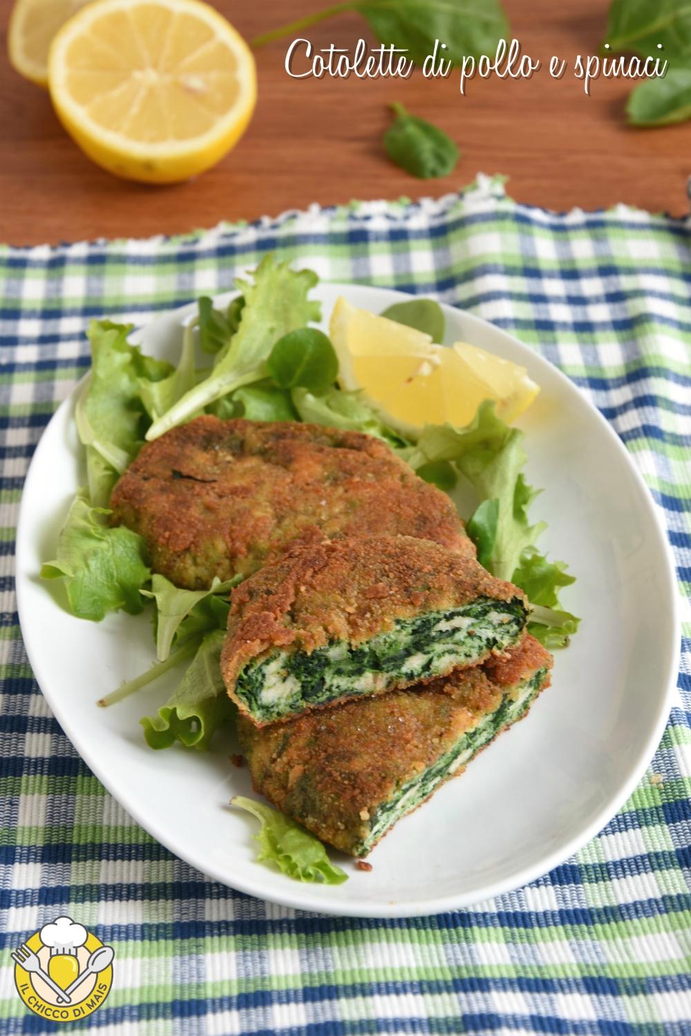 v_ cotolette di pollo e spinaci al forno o fritte ricetta passo passo facile il chicco di mais
