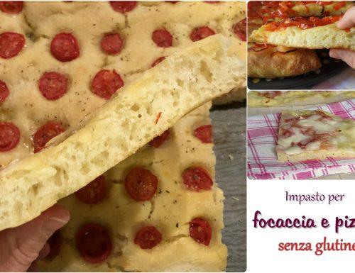 Impasto per focaccia e pizza senza glutine in teglia
