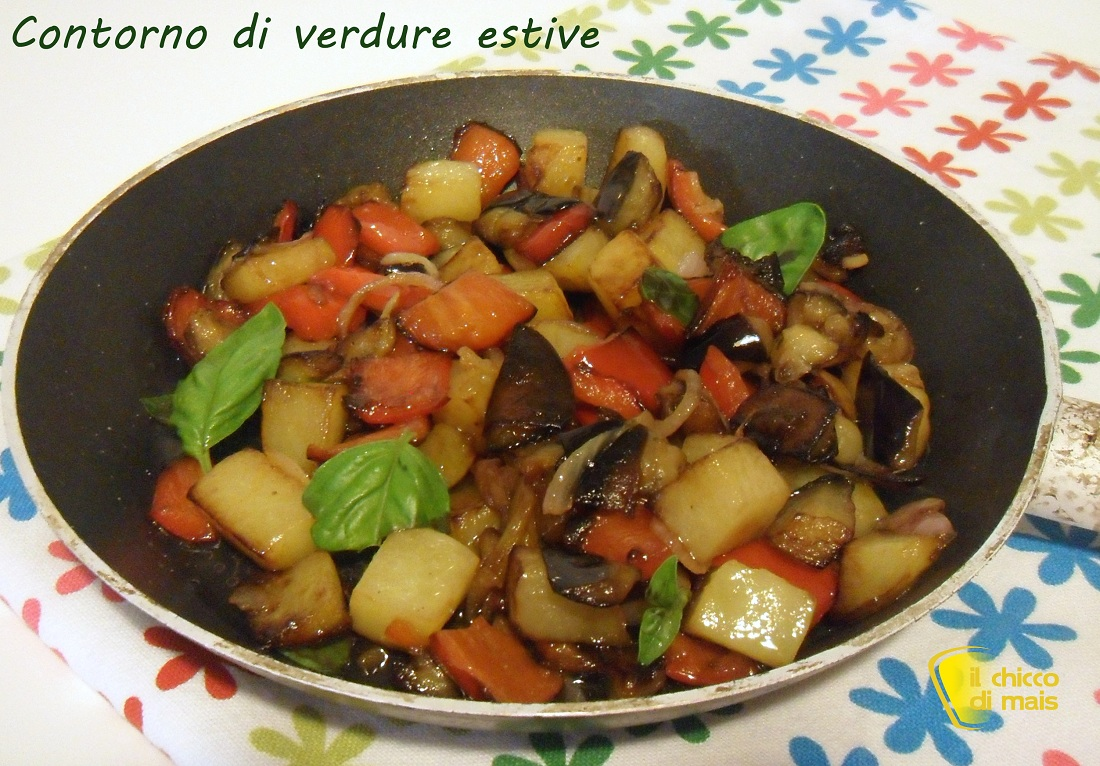 Contorno di verdure estive in padella ricetta vegan il chicco di mais