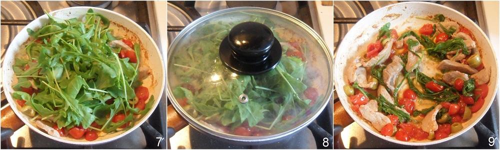 Straccetti con rucola, olive e datterini ricetta veloce il chicco di mais 3