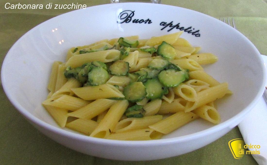 Carbonara di zucchine ricetta vegetariana il chicco di mais