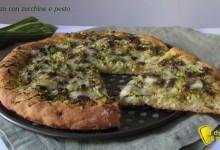 Pizza con zucchine e pesto (ricetta vegetariana)