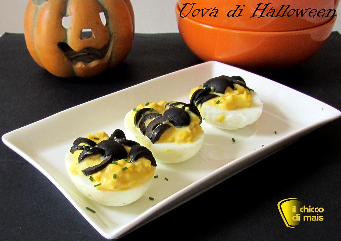 antipasti e secondi con le uova Uova di Halloween ricetta facile il chicco di mais