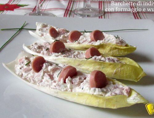 Barchette di indivia con formaggio e wurstel (ricetta antipasto)