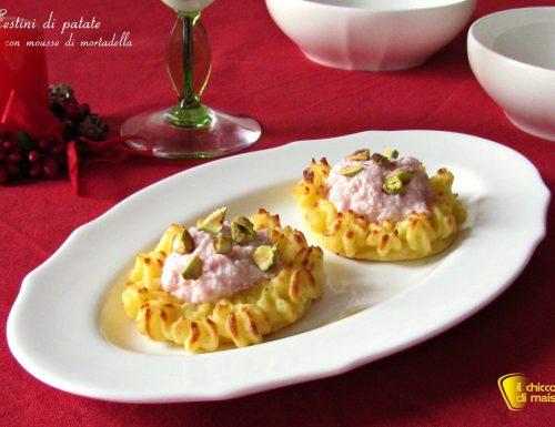 Cestini di patate con mousse di mortadella, ricetta
