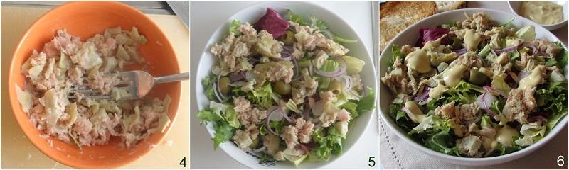Insalata di tonno e carciofini con salsa Caesar ricetta il chicco di mais 2
