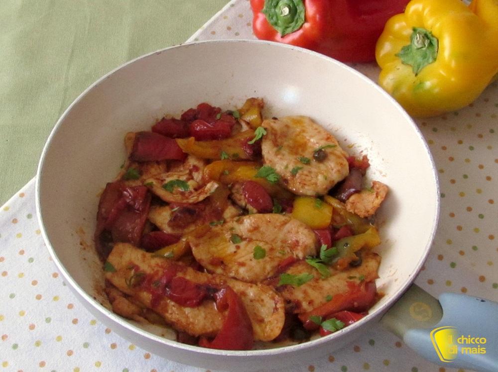 Pollo ai peperoni in agrodolce ricetta in padella il chicco di mais