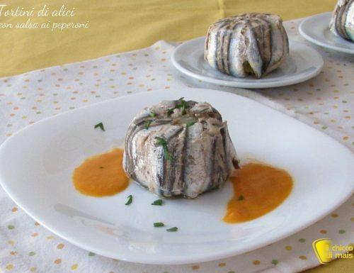 Tortini di alici monoporzione con salsa ai peperoni