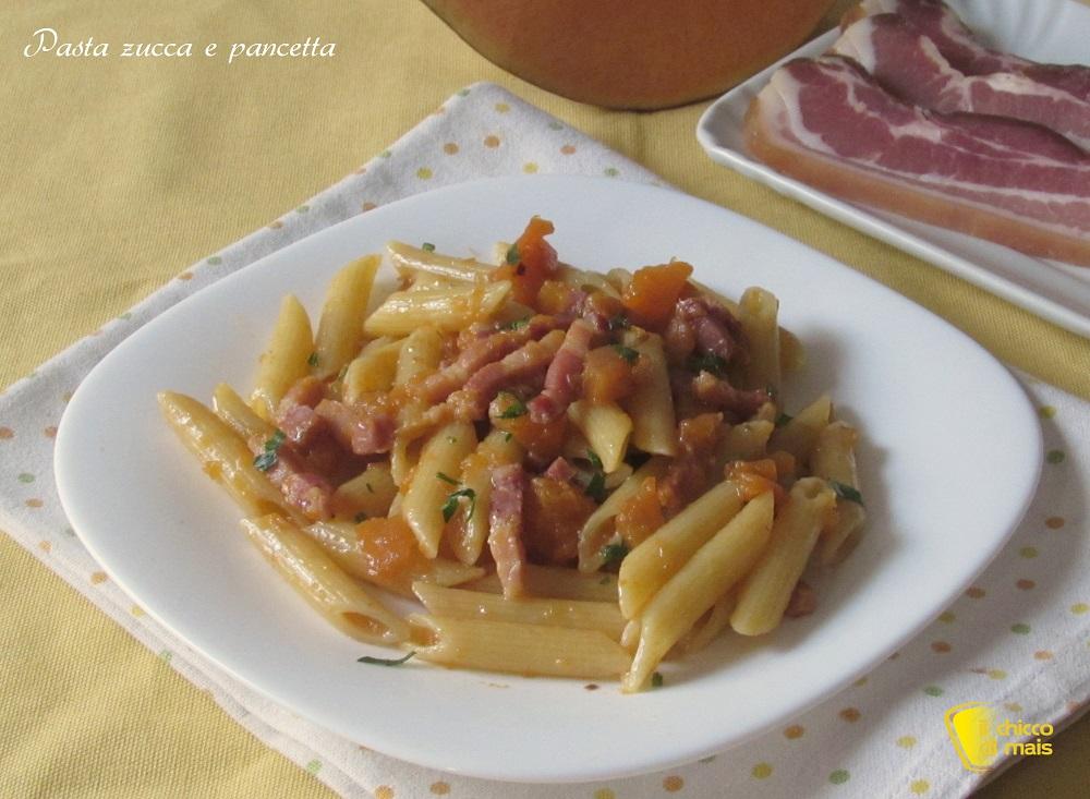 ricette con la zucca dolci e salate Pasta zucca e pancetta ricetta il chicco di mais