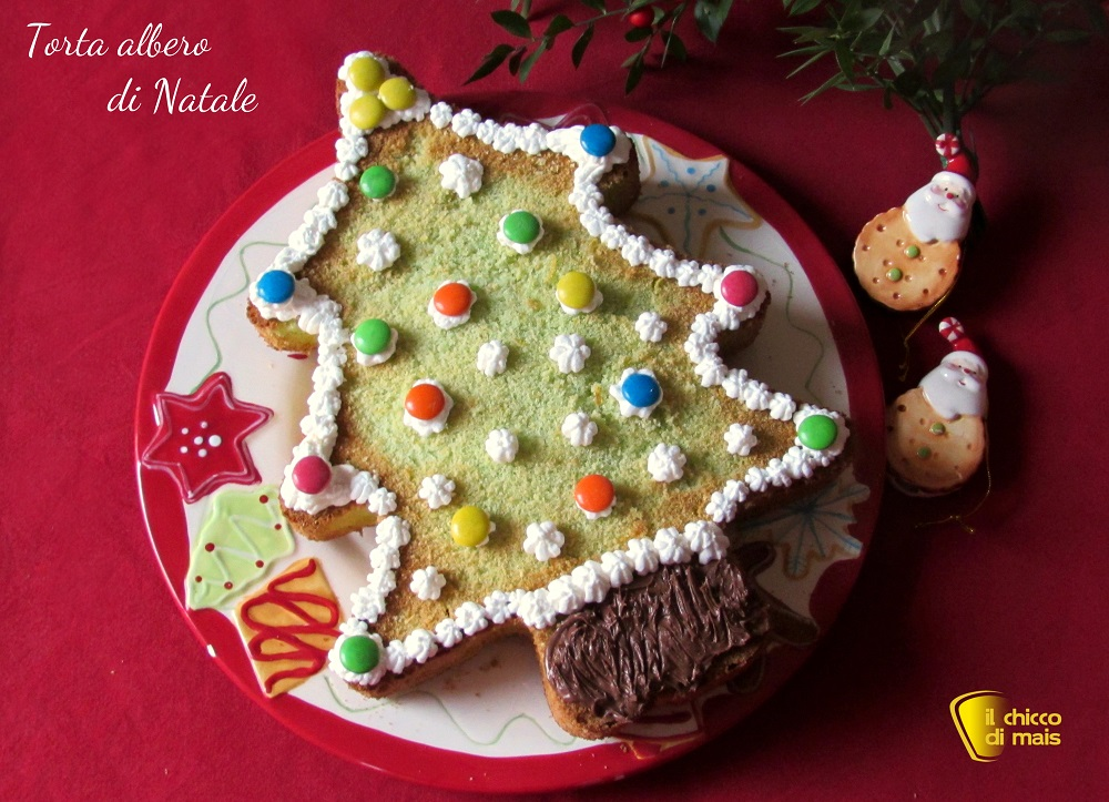 Torta albero di Natale decorata ricetta il chicco di mais