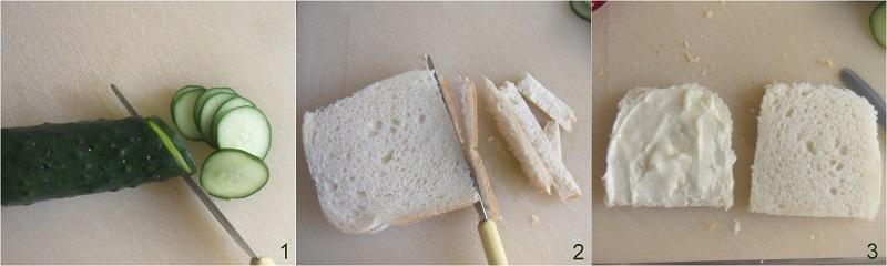 Sandwich al cetriolo ricetta inglese per il tè il chicco di mais 1 tagliare il cetriolo e il pane