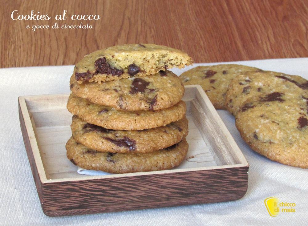 cookies al cocco e gocce di cioccolato ricetta americana il chicco di mais