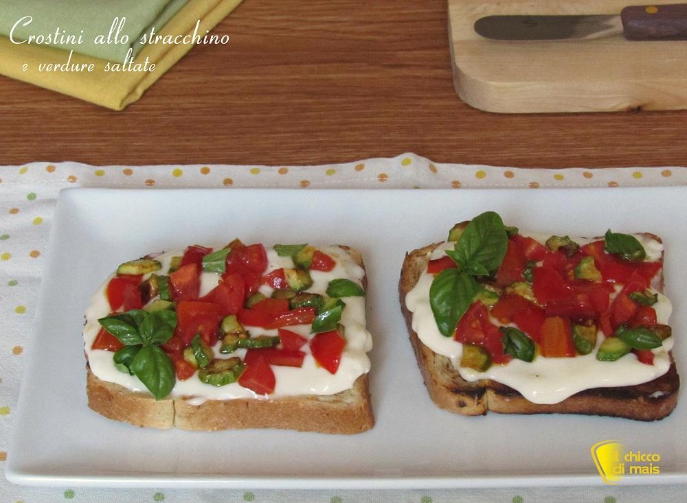 crostini allo stracchino e verdure saltate ricetta facile il chicco di mais