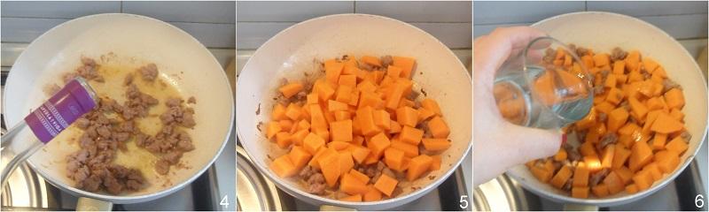 Pasta al forno zucca e salsiccia ricetta facile il chicco di mais 2 unire la zucca