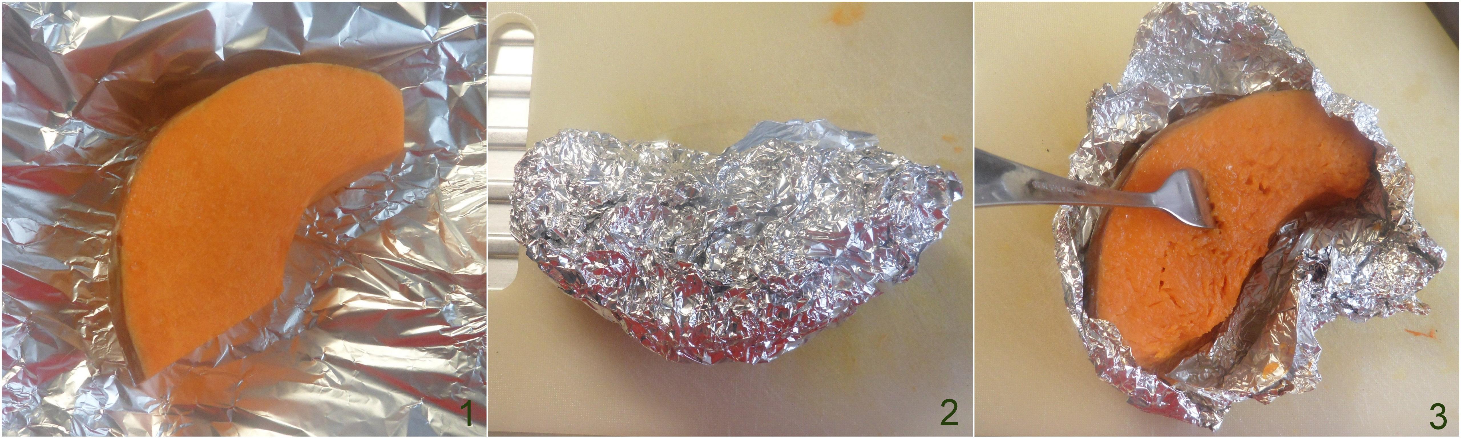 Plumcake salato alla zucca e speck soffice e saporito ricetta il chicco di mais 1 cuocere la zucca al cartoccio
