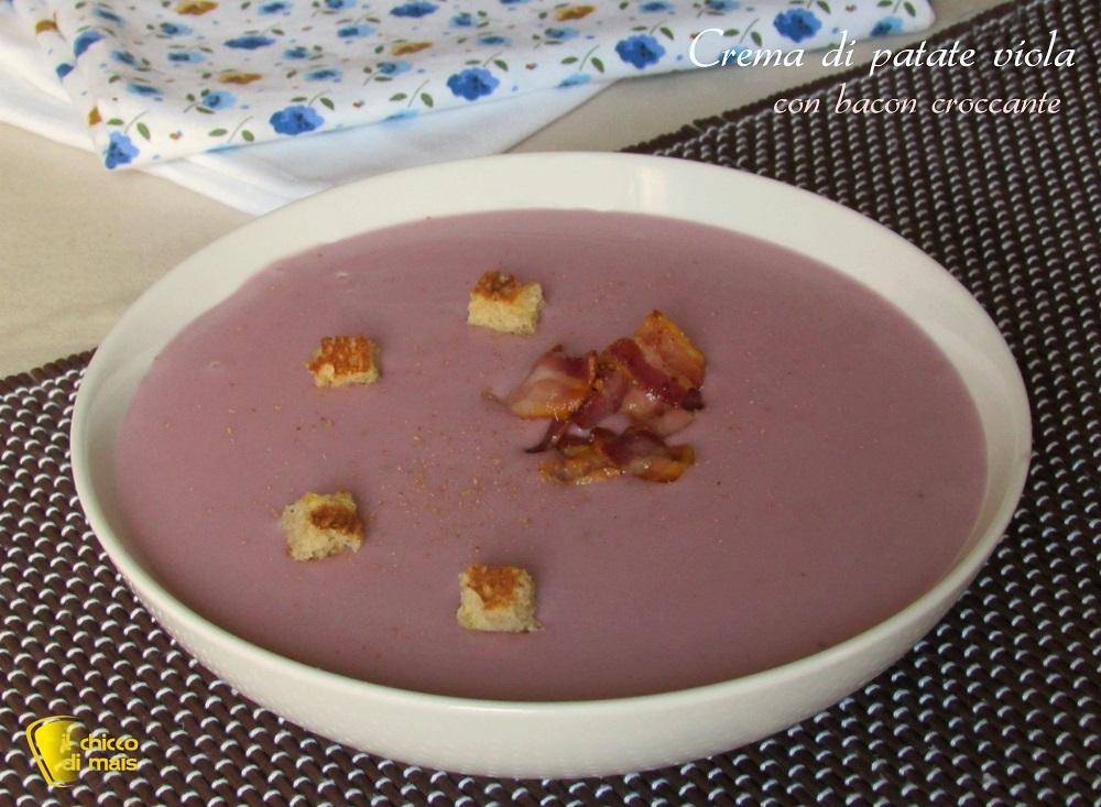 Crema di patate viola con bacon croccante