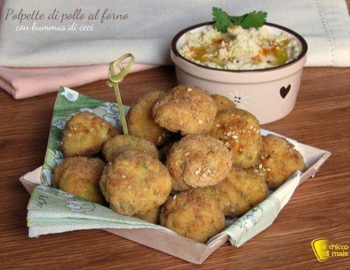 Polpette di pollo al forno con hummus di ceci