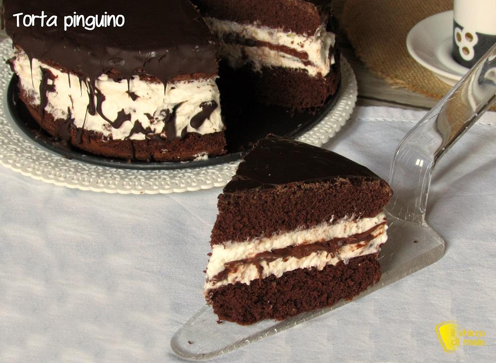 torta pinguino ricetta torta kinder pinguì con cioccolato panna nutella il chicco di mais