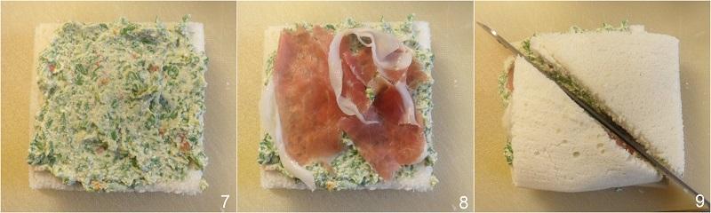 tramezzini sfiziosi fingerfood con prosciutto e formaggio alla rucola ricetta antipasto veloce buffet il chicco di mais 3 strato 2 dei tramezzini