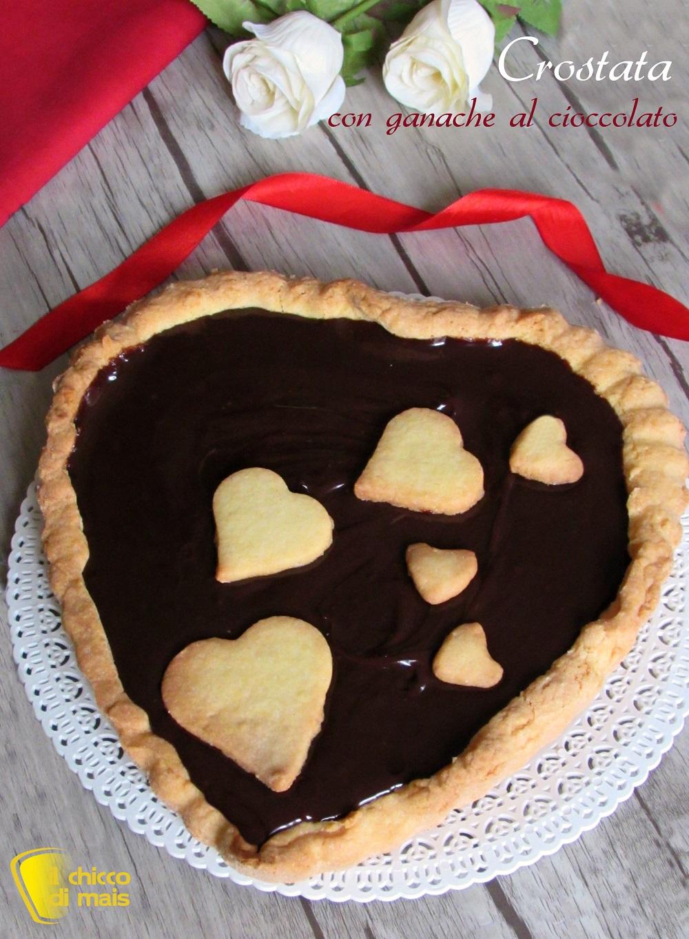 verticale crostata con ganache al cioccolato ricetta dolce a cuore per san valentino il chicco di mais