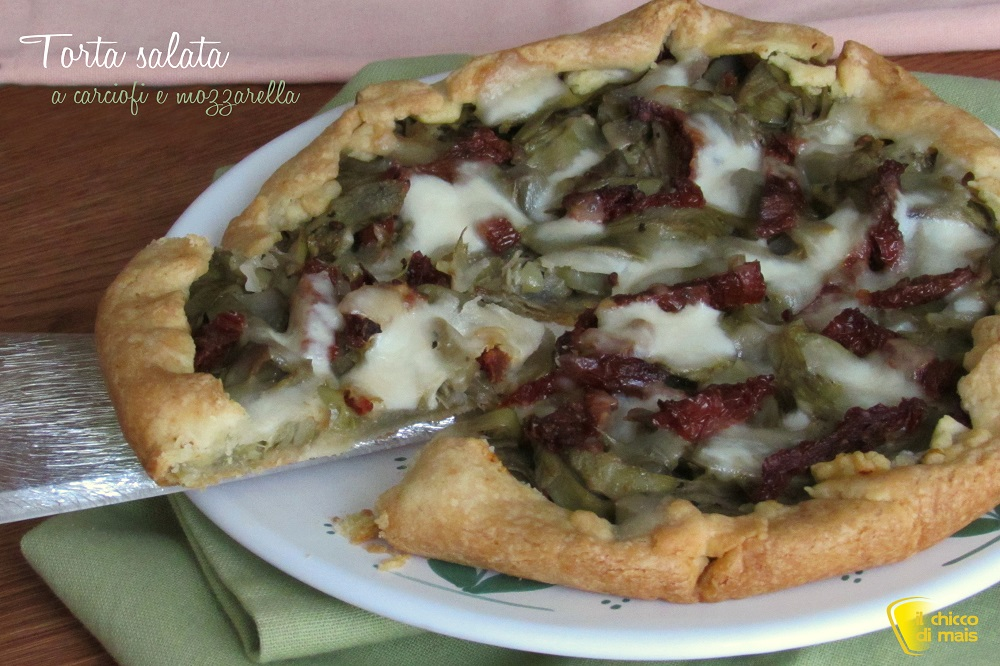 ricette con carciofi Torta salata ai carciofi e mozzarella ricetta facile e gustosa il chicco di mais